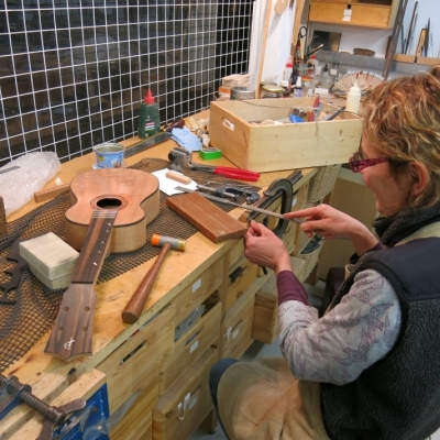 Stringed Instrument Workshop : <p>Paloma is making a ukelele for her son.</p>